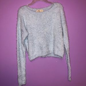 Baby Blue Fuzzy Hollister Cropped Sweater